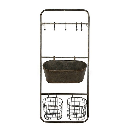 """36.3"""" x 15.7"""" Rusted Hanging Bin and Baskets with Hooks - 3R Studios - image 1 of 4"""