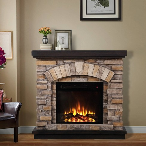 36 Freestanding Electric Fireplace Tan Home Essentials Target