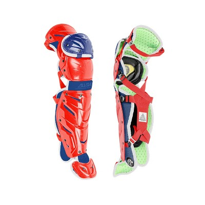 All-Star Sports S7 LG1216S7X USA Axis Baseball Catcher Leg Guards Protective Gear for Ages 12 to 16 Years w/ LINQ Hinge System & D3O Padding, Red/Blue