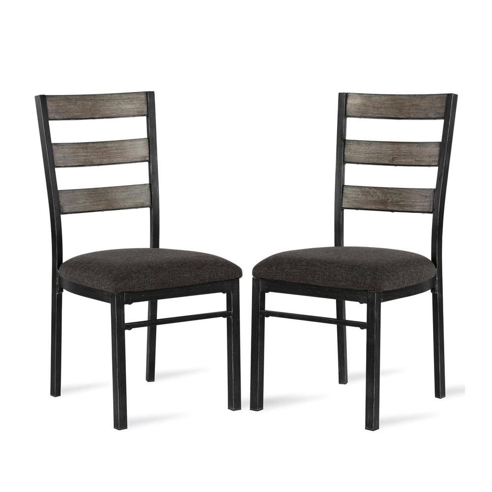 Set of 2 Turner Metal Base Dining Chair Gray - Dorel Living