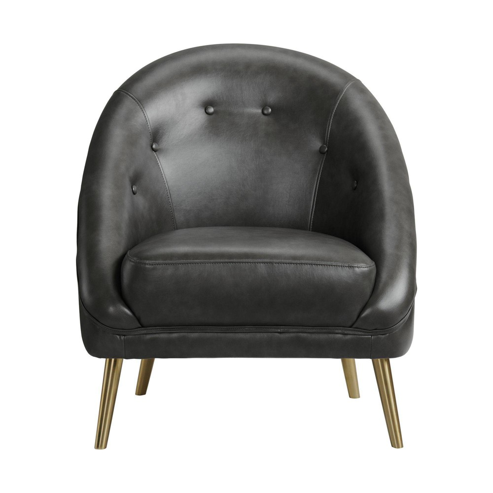 Taya Accent Chair With Gold Legs Magnetite Gray Picket House Furnishings