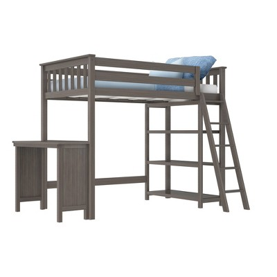 Max & Lily Twin High Loft Bed with Bookcase and Desk