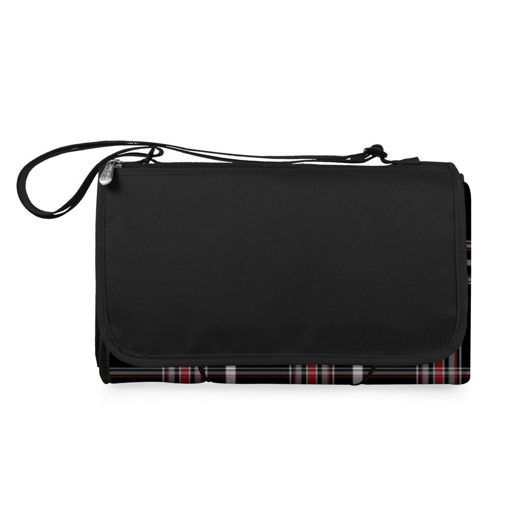 Oniva Blanket Tote Outdoor Picnic Blanket Black Tartan Pattern With Black Flap