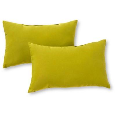 Set of 2 Solid Outdoor Rectangle Throw Pillows - Kiwi - Kensington Garden