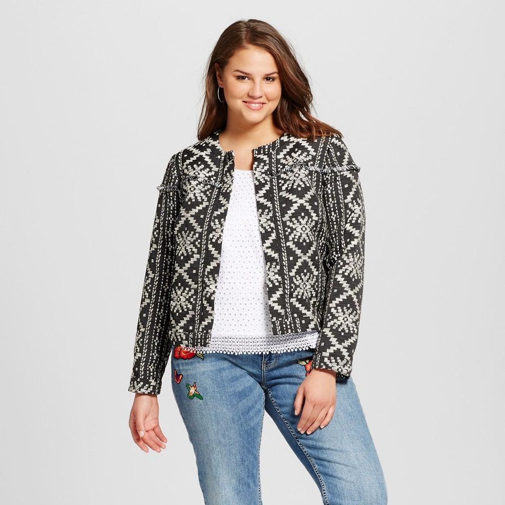 Women's Plus Size Boho Jacket - Who What Wear Black Aztec 3X