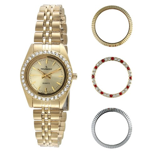 Women's Peugeot 4 Interchangeable Bezel Gold-tone Dial Watch Set -  Gold - image 1 of 4