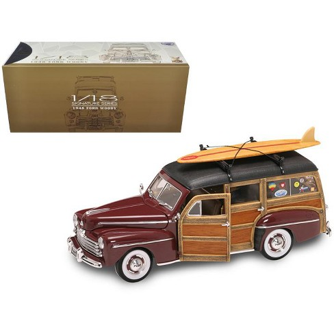 1948 Ford Woody With Wood And Surfboard Burgundy 1/18 Diecast Model Car by Road Signature - image 1 of 1
