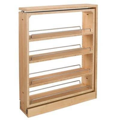 Rev-A-Shelf 432-BF-6C 6-Inch Base Cabinet Filler Pullout Kitchen Wooden Spice Rack Holder Shelves for Storage Organization