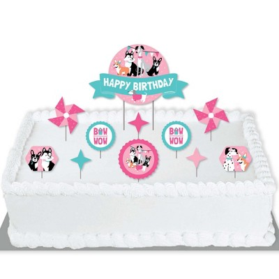 Big Dot of Happiness Pawty Like a Puppy Girl - Pink Dog Birthday Party Cake Decorating Kit - Happy Birthday Cake Topper Set - 11 Pieces