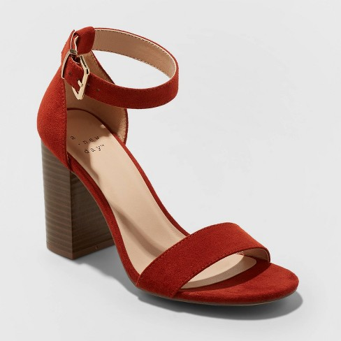 Women's Julia Microsuede High Block Heel Sandal Pumps - A New Day™ Rust - image 1 of 3