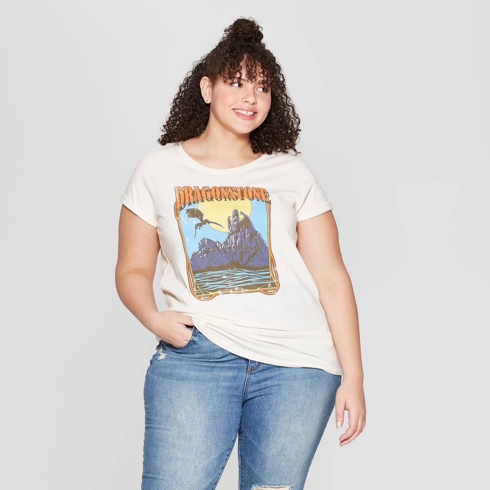 Women's Game of Thrones Plus Size Short Sleeve Dragonstone Crewneck T-Shirt (Juniors') - White 1X