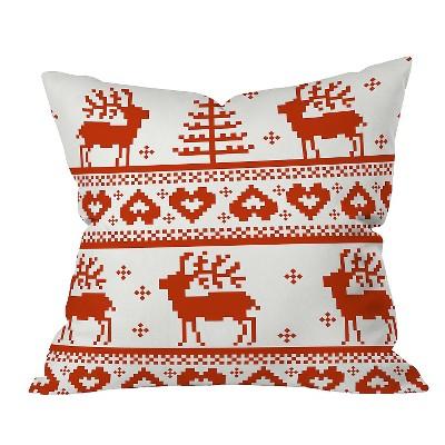 Red Geometric Natt Knitting Red Deer Throw Pillow (16 x16 )- Deny Designs®
