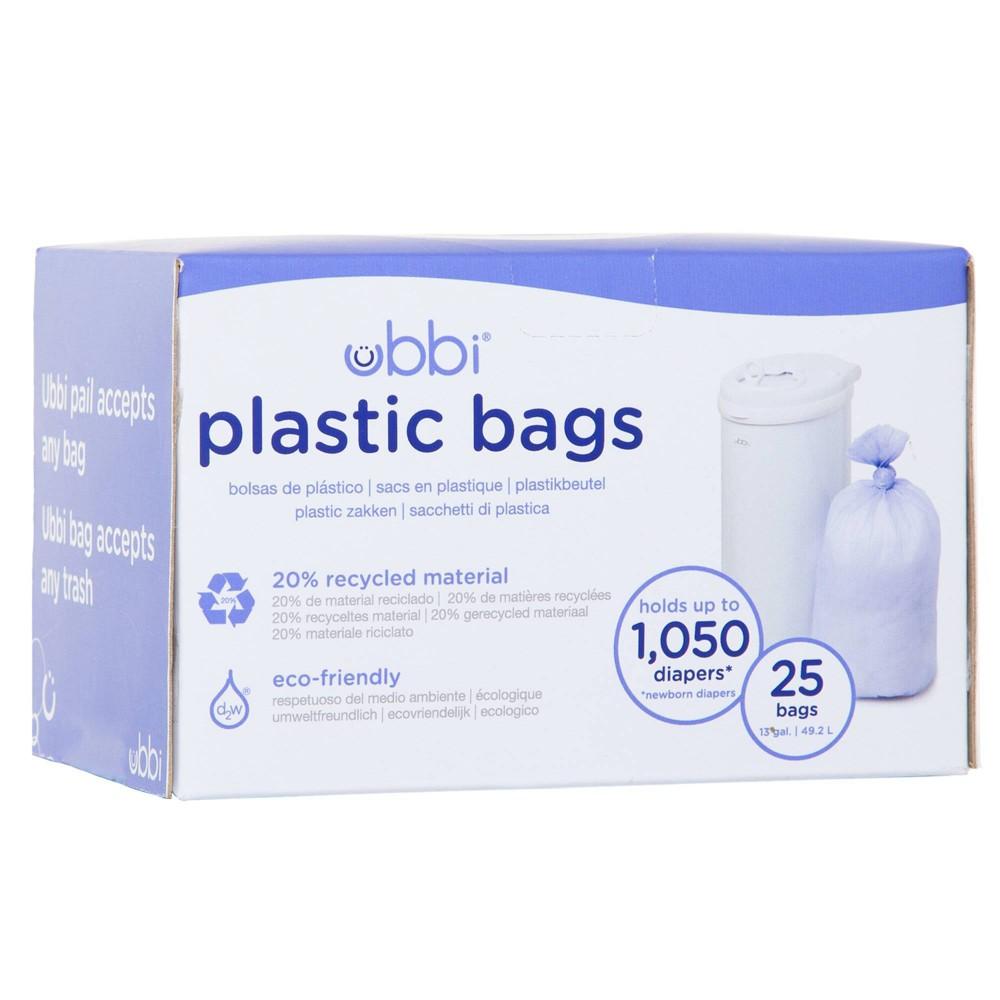 Ubbi Plastic Diaper Pail Bags - White - 25ct