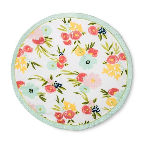 Round Activity Playmat Floral - Cloud Island™ Pink/Light Green - image 1 of 3