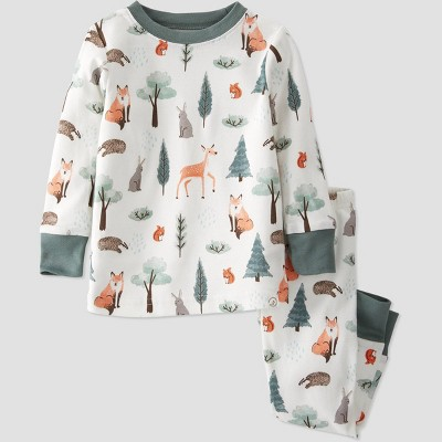Baby Boys' 2pc Organic Cotton Forest Sleep N' Play - little planet by carter's Green/Off-White 24M