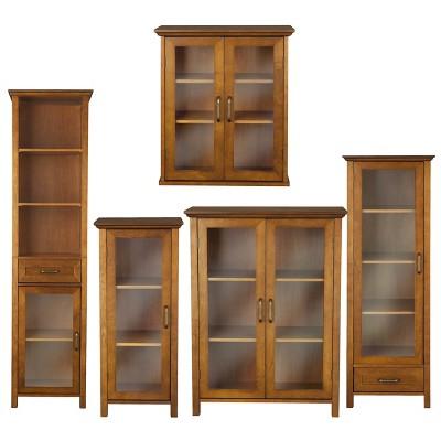 avery wall cabinet oil oak brown - elegant home fashions