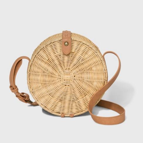 Rattan Circle Crossbody Bag - Universal Thread™ Natural - image 1 of 3