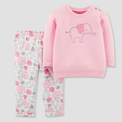 Baby Girls' 2pc Quilted Elephant Set - Just One You® made by carter's Pink 24M
