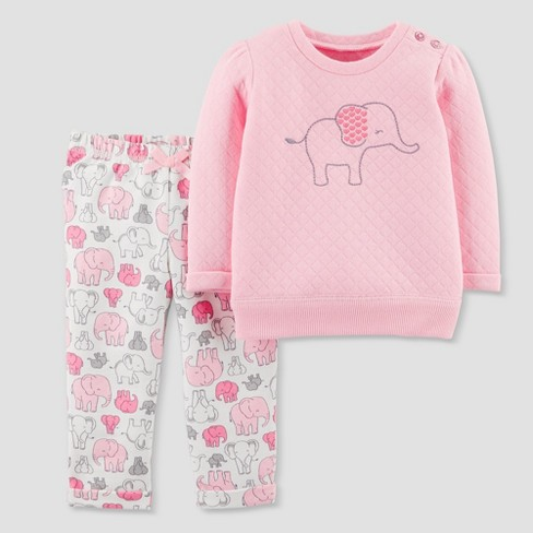 Baby Girls' 2pc Quilted Elephant Set - Just One You® made by carter's Pink - image 1 of 1