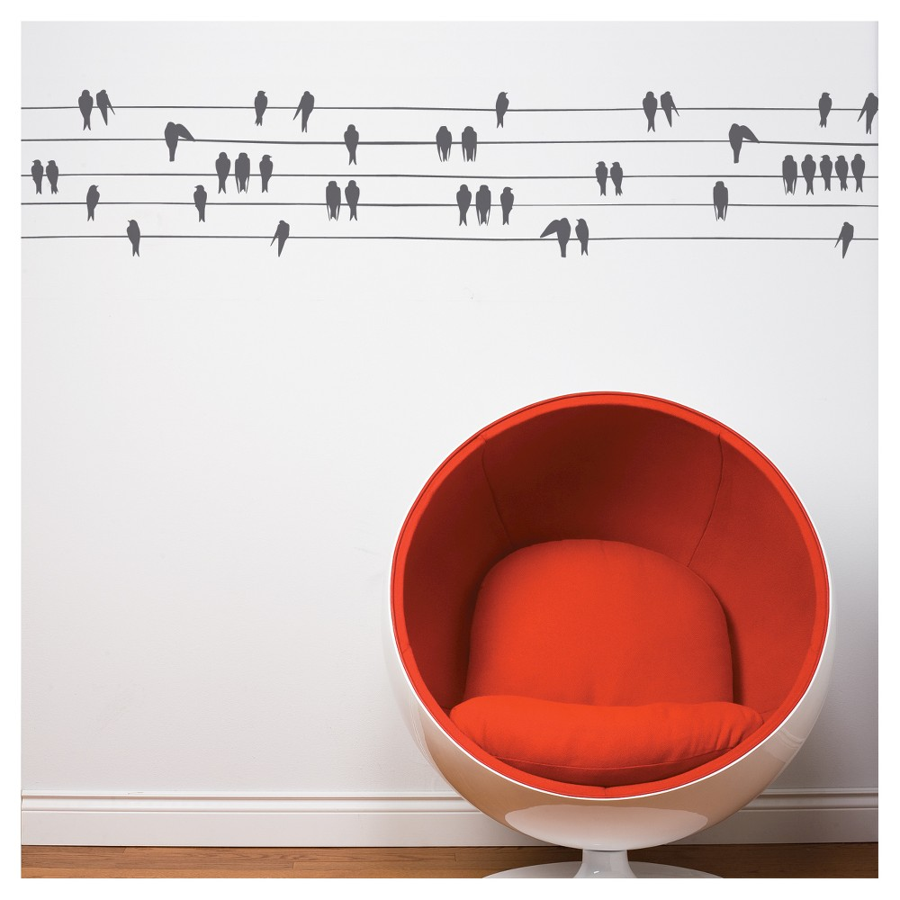Image of Birds on a Wire Wall Decal - Charcoal, Almost Black