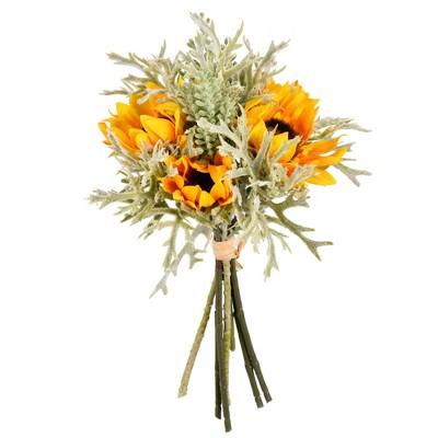 "Vickerman 14"" Artificial Yellow Sunflower Succulent Bouquet ."