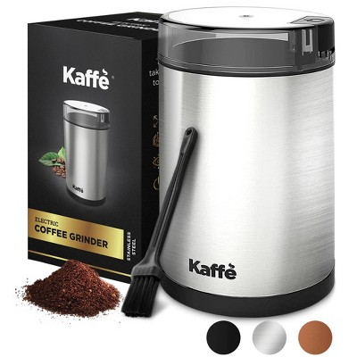 Kaffe Electric Coffee Grinder with Cleaning Brush - Silver - KF2020