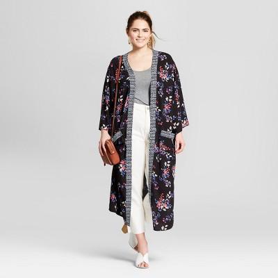 73b2218dcc2 Womens Plus Size Floral Print Kimono – Xhilaration™ Black 2X – BrickSeek
