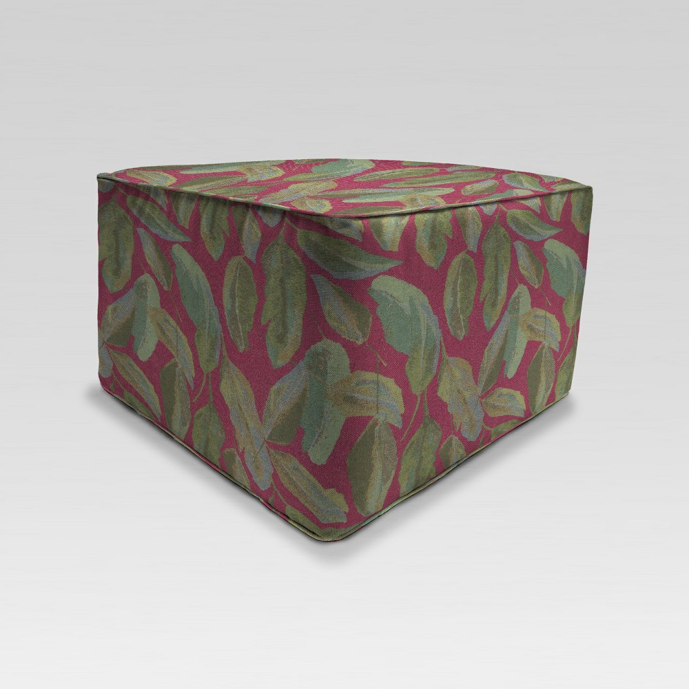 Outdoor Boxed Square Pouf/Ottoman - Red - Jordan Manufacturing