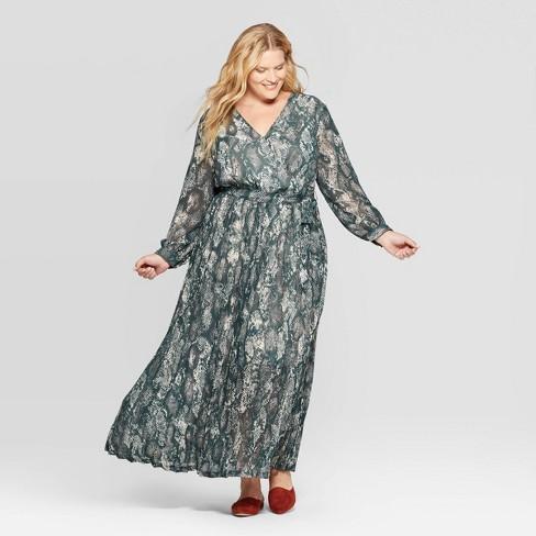 Women\'s Plus Size Snake Print Long Sleeve V-Neck Pleated Chiffon Wrap Maxi  Dress - Ava & Viv™ Green 4X