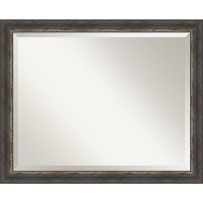 "32"" x 26"" Bark Rustic Framed Bathroom Vanity Wall Mirror Charcoal - Amanti Art"