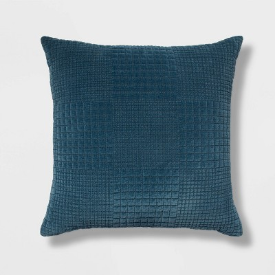 "24""x24"" Oversized Velvet Grid Square Throw Pillow Blue - Threshold™"
