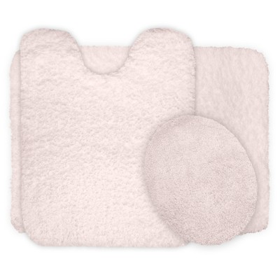 Solid Super Plush Non-Slip Bath Mat Rug Set 3pc Ivory - Yorkshire Home