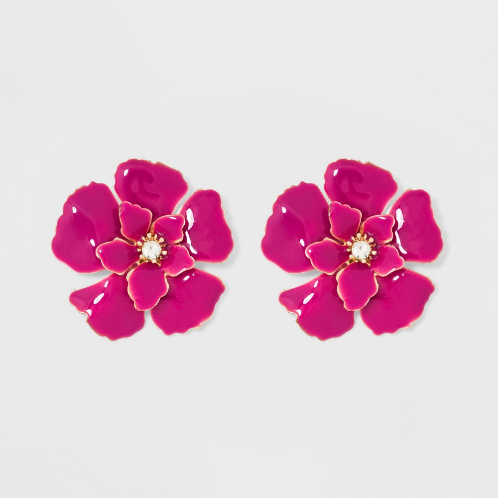 Image of Stud Flower Earrings - A New Day Pink/Gold, Size: Large