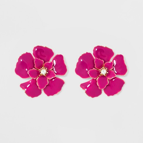 cdd3a8094db Stud Flower Earrings - A New Day™ Pink Gold   Target