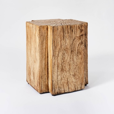 Indoor/Outdoor Faux Concrete Stump Accent Table Brown - Threshold™ designed with Studio McGee - image 1 of 4