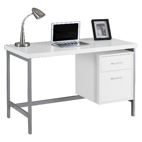 new products a722f 703f1 Computer Desk with Drawers - Silver Metal & White - EveryRoom