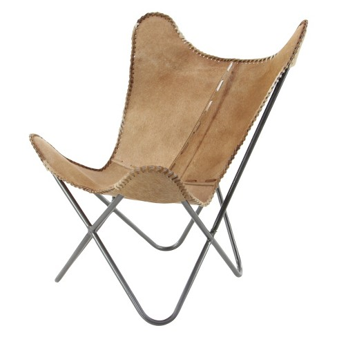 Metal and Native Leather Chair Brown - Olivia & May - image 1 of 6