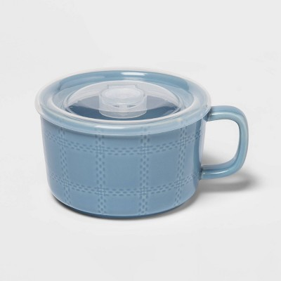 17.6oz Stoneware Plaid Soup Mug Blue - Threshold™