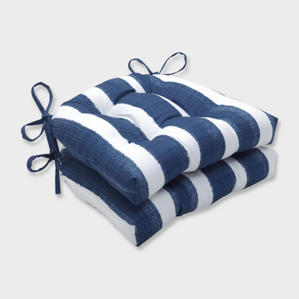 2pk Nico Zaffre Reversible Chair Pads Blue - Pillow Perfect