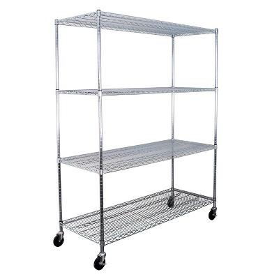 SafeRacks WS-602472-ZW4 24 x 60 x 72-Inch 4-Tier Storage Heavy-Duty 350-Pound Shelf Steel Wire Shelving Rack with Wheels, Stainless