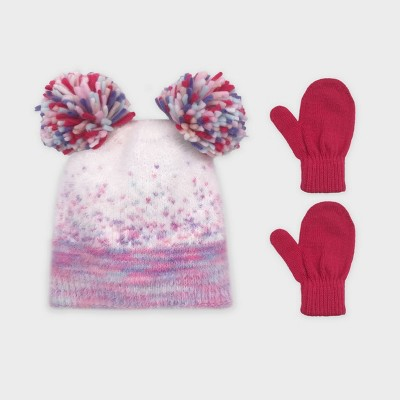 Toddler Girls' Knitted Ombra Beanie and Basic Magic Mittens Set - Cat & Jack™ Purple/Pink 2T-5T