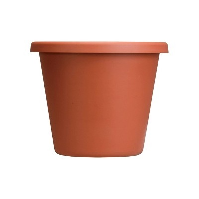 The HC Companies 12 Inch Indoor/Outdoor Classic Plastic Flower Pot Container Garden Planter with Molded Rim & Drainage Holes, Terra Cotta