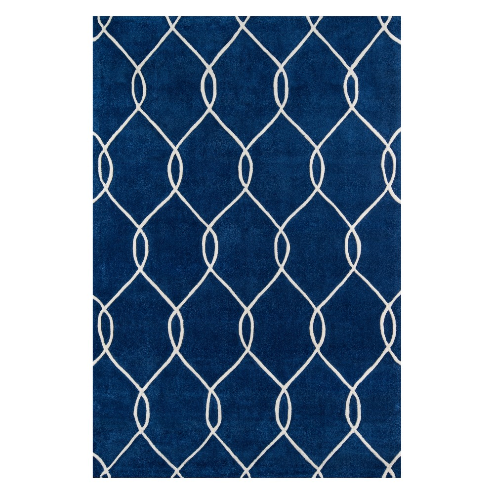 2'X3' Geometric Tufted Accent Rug Navy (Blue) - Momeni