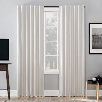 "84""x50"" Evelina Faux Dupioni Silk Thermal Back Tab Extreme Blackout Curtain Panel Pearl - Sun Zero"