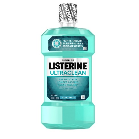 Listerine Ultraclean Cool Mint Antiseptic Mouthwash Oral Care For Fresh Breath - 500ml - image 1 of 8