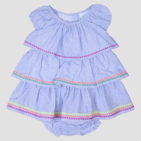 Baby Girls' Ruffle Dress with Rainbow Embroidered Trim Nate & Annee™ Multi - image 1 of 1