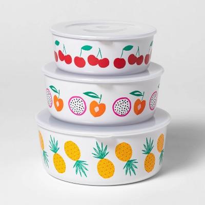 3pc Plastic Fruit Print Food Storage Bowls - Sun Squad™