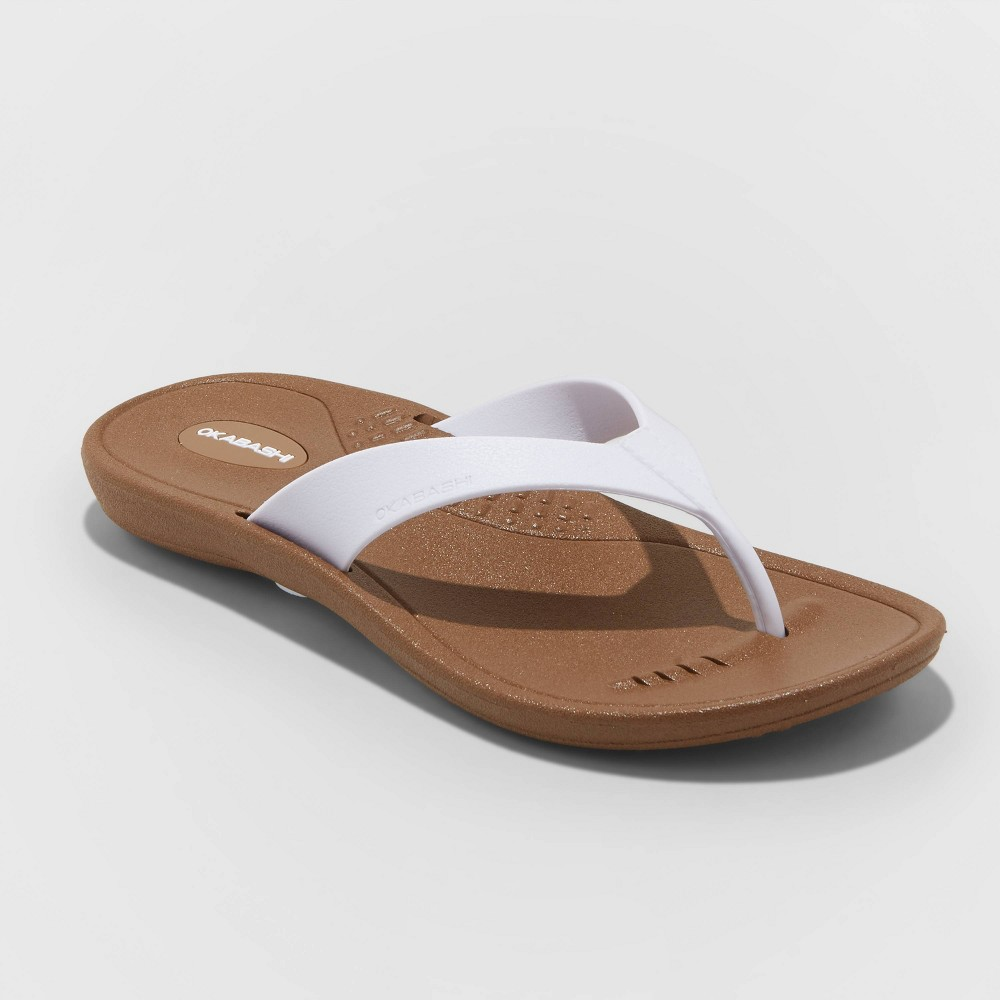 Women's Breeze Flip Flop Sandals - Okabashi - White L(9.5-10.5)