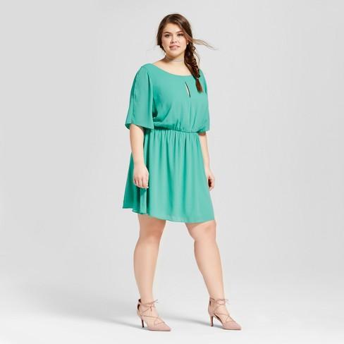 d8c13da8ef1 Women s Plus Keyhole Cinch Waist Dress Green - Le Kate (Juniors ). Shop ...