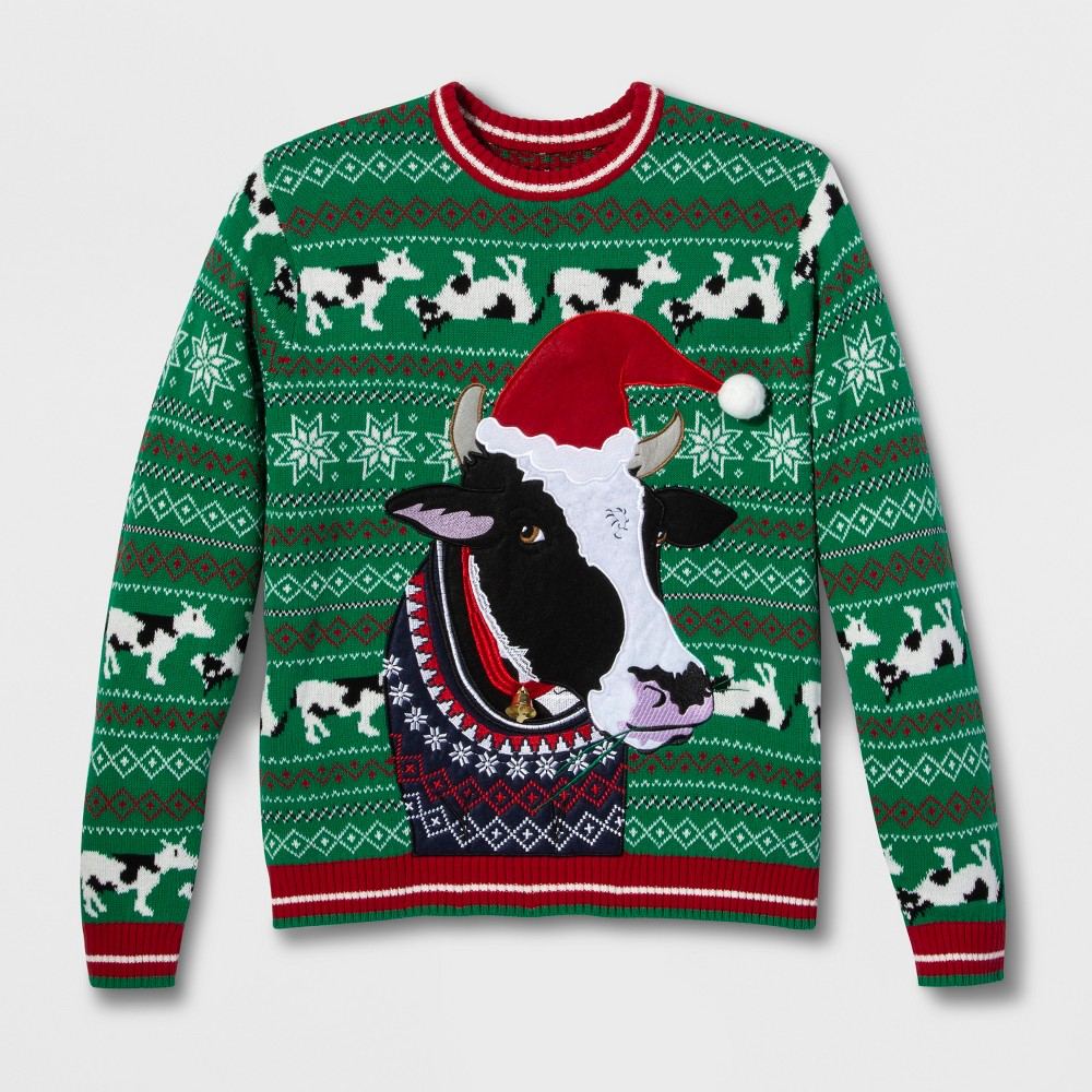 Image of 33 Degrees Men's Ugly Christmas Cow Long Sleeve Pullover Sweater - Green 2XL